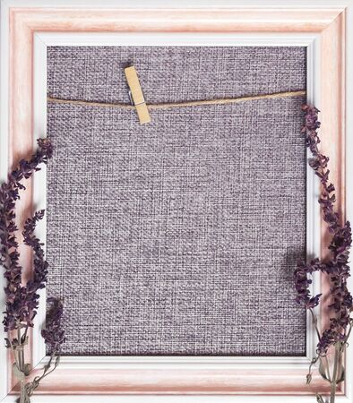 Original photo frame blank in brown pink tones for home decor with natural dry sage flowers with copy space  mockup 写真素材 - 130039349