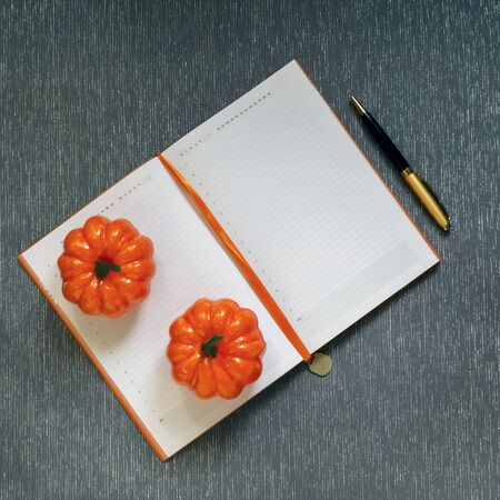 Autumn flatlay with mockup. Blank notebook with blank page, pen, orange pumpkins, Halloween routine on gray background 写真素材