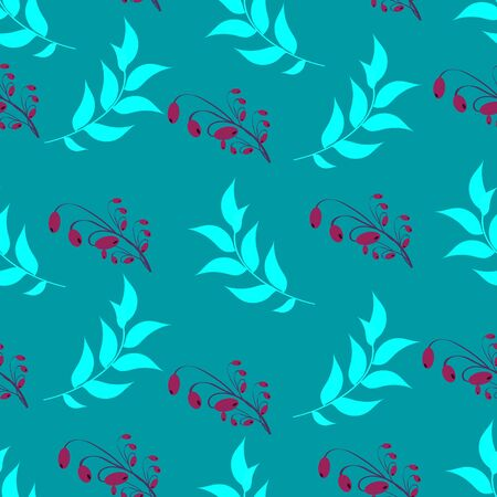 Seamless pattern. Background abstract natural floral bluish-green turquoise mint color with a decorative pattern and a pattern of twigs, leaves, clusters, berries of barberry, leitmotif, wrapping paper, tablecloth, fabric
