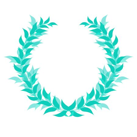 Laurel vein, honorary award, sports champion competition winner prize, victory symbol, emblem, badge, icon, trophy. A separate object of green color from branches and leaves on a white background Illusztráció