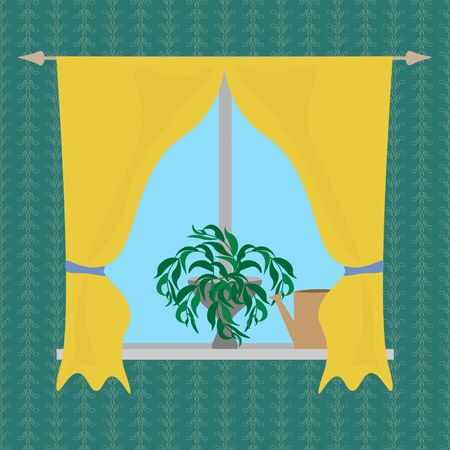 Interior decor home, domestic life, a clean window with yellow curtains in the room against the background of a wall with green wallpaper, a lush flower and a watering can on the windowsill