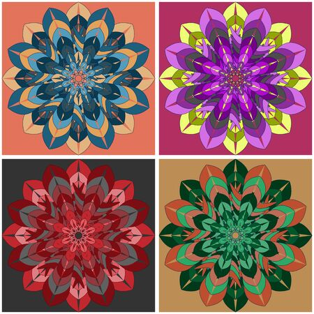 Indian culture mandala flower with a set ornament of four multi-colored bright shapes on different backgrounds Ilustração