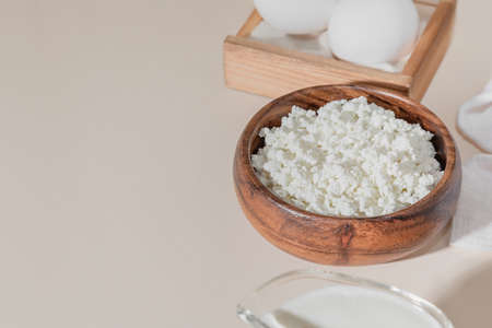 Food is a source of calcium, magnesium, protein, fats, carbohydrates, balanced diet. Dairy products on the table: cottage cheese sour cream milk chicken egg contain casein albumin globulin, free lactose.