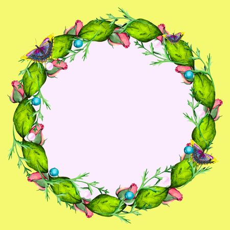 Organic frame with fresh green leaves, pink buds and bright butterflies. Watercolor composition with space for text for greeting cards and invitations.