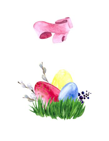 Watercolor drawing with Easter eggs, green grass and willow branches isolated on a white background. Holiday collage for decoration of holiday cards and greetings.