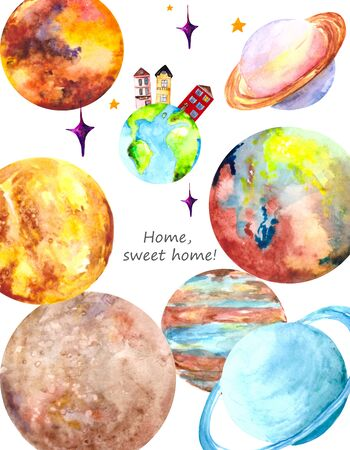 Watercolor planet Earth, our home surrounded by other planets of the solar system: Saturn, Mars, Venus, mercury, Neptune and Uranus on a white background.