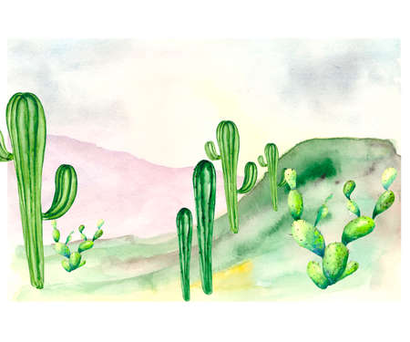 Art postcard depicting a green valley with cacti, horizon and hills of mountains in the distance. Watercolor illustration about nature with space for text.
