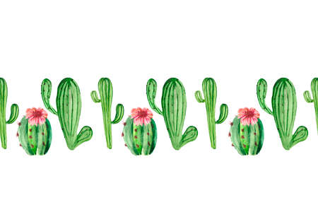 Seamless pattern with juicy green cacti and pink flower on a white background. Bright watercolor drawing for textiles, Wallpaper, packaging and original backgrounds on the theme of holiday.