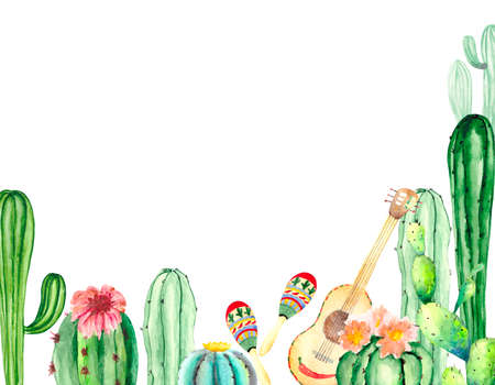 Holiday card with green cacti, pink flowers, musical instruments: a Mexican guitar and maracas, with space for text on a white background. Holiday illustration for greetings, posters, invitations.
