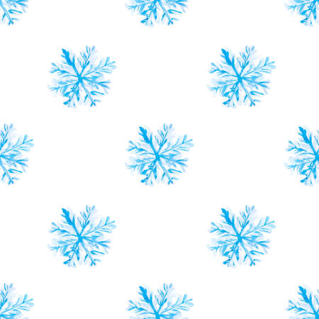 Christmas background with a blue delicate snowflake on a white background. Seamless pattern for textiles, Wallpaper, and holiday packaging.