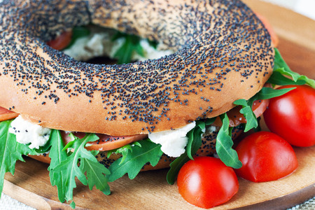 bublik: Bagels with arugula, smoked fish and cream cheese
