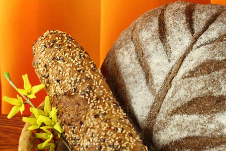 darck: Different types of darck  bread  close-up  with   flower close-up