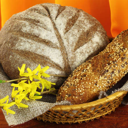 darck: Different types of darck  bread in wicker  plate