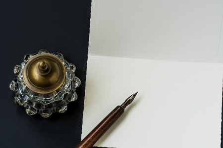 inkwell: Fountain pen, inkwell, letter with space Stock Photo