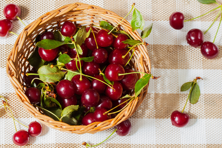 pectin: Cherries contain fructose, glucose, citric, malic acids, mineral salts, vitamins A, B1, B2, C, P, PP, folic acid, carotene, tanning, pectin, essential oils . Enjoy your meal and good health. Stock Photo