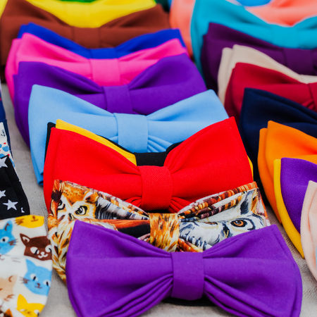 attribute: Bow tie - fashion gourmet. Attribute hipsters, Square, selective focus