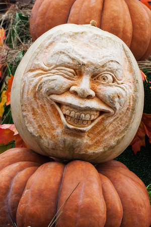 Skillfully carved head of pumpkins, decorations for the autumn holidays, VERTICAL