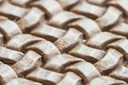 Texture of genuine brown wicker leather close-up Stock Photo