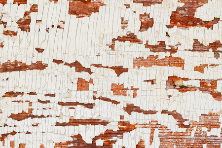 Vintage wooden brown textured background with peeling paint white color. Backdrop for various designs Stock Photo