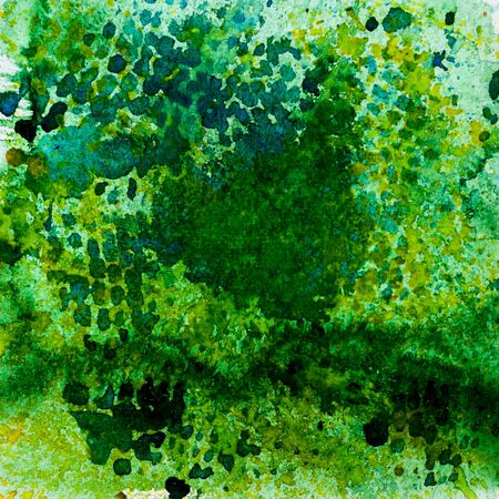 kale: Watercolor abstract background painting, hand drawn on paper grain texture. Green. Square. For modern pattern, wallpaper, banner design. Stock Photo