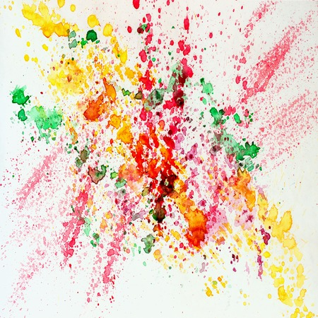 Abstract watercolor bright colorful background painting with spray, spots, splashes. Hand drawn on paper grain texture. For modern pattern, wallpaper, banner design