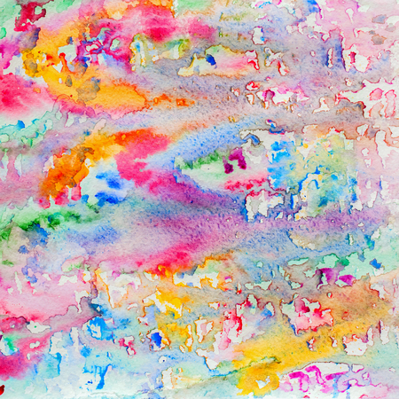 Abstract watercolor all colors of the rainbow background painting with spray, spots, splashes. Hand drawn on paper grain texture. For modern design. Square