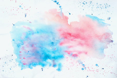 Abstract colorful watercolor hand drawn image for splash background, pink and blue shades on white. Artwork for creative banner, card, template, design Stock fotó