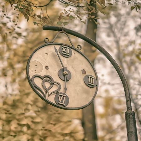 Close-up of broken decorative vintage watch in an old park. Concept of change of seasons, Autumn nostalgic mood, melancholy.