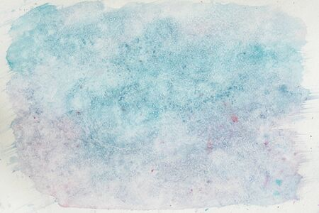Watercolor stains, strokes of blue shades. Abstract watercolor background. Delicate shades of tender winter, snow, spring colors. Hand-drawn background, paper texture