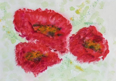 Hand drawn colorful Three red poppys close-up on white paper, spring and summer shades. Abstract watercolor, paper grain texture. Art design