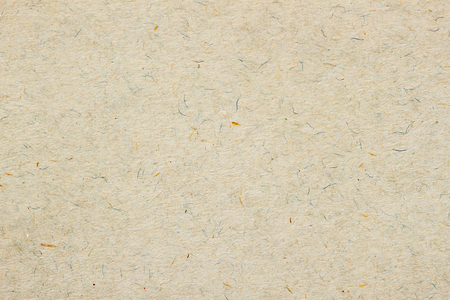 Texture of old organic light cream paper. Recyclable material with small brown and and blue inclusions of cellulose fragments, stubble, nap, hair. Background for design