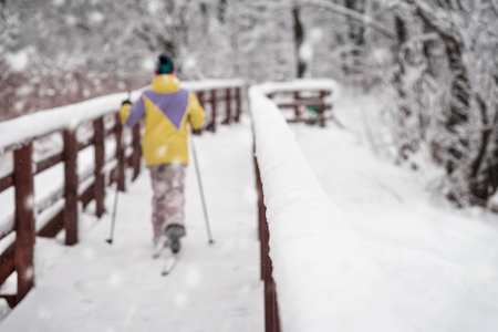 Unrecognizable skier back to us, running on skis in winter woods on cold snowy day, crosses wooden bridge. Winter sport, active leisure, healthy lifestyle Stock Photo