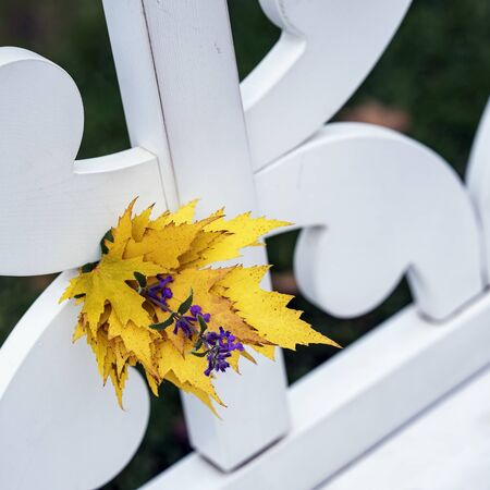 Bright autumn bouquet of yellow fallen leaves and violet flower close-up in white bench in park, sunny day, autumn natural background