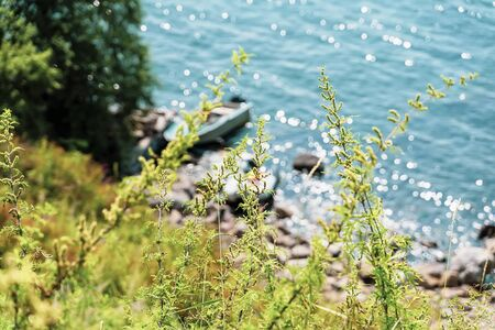 Summer scenic sunny day, boat on the lake, natural sparkling bokeh from water and the sun, view through wild green grass Imagens