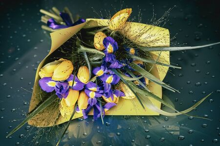 Romantic bright bouquet of flowers, yellow tulips and violet irises. Greeting card for all occasions, especially spring Imagens