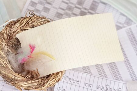 Empty Note in nest with feathers, symbol of the house, on background of business tables, copy space for text, for motivational words