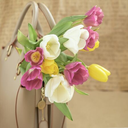 Women's handbag with colorful tulips close-up. Concept of spring holidays and gifts