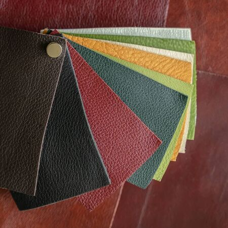 Set of colorful samples of genuine leather, colors and texture samples, abstract background. Manufacturing concept