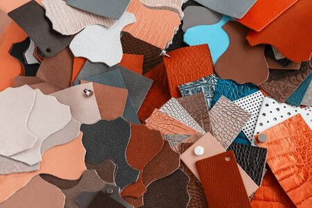 Colorful natural background of multi-colored pieces of genuine leather of different textures, color swatches for choice, shopping and industry concept Imagens