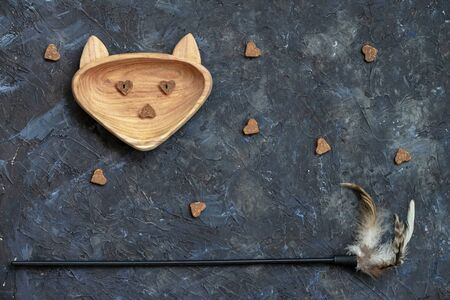 Wooden dish with treat for pets shaped in head cat and toy on dark background. Top view. Concept care, feed pets