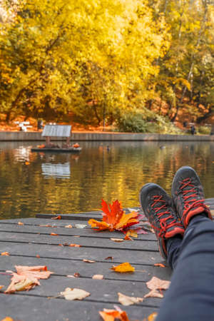 Abstract pair of legs in sport sneakerson background of bright fallen leaf, pond with ducks in a city park. Fall concept. Seasons, walk, nostalgic mood, active life stile