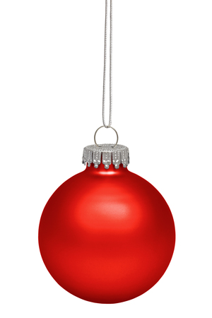 Red christmas bauble isolated on white  Stock Photo