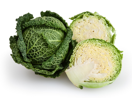 Savoy cabbages isolated on white background  Stock Photo