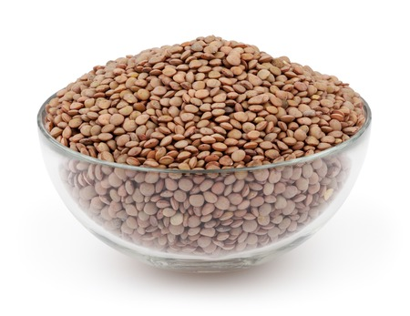 Green lentils isolated on white background with clipping path photo
