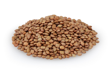Brown lentils isolated on white background with clipping path Reklamní fotografie
