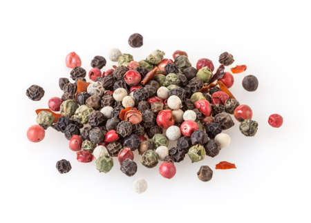 Mixed of diffrent kind peppercorns isolated on white background