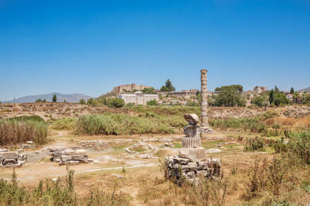 Ruins of Temple of Artemis at Ephesus. Selcuk in Izmir Province, Turkey 写真素材