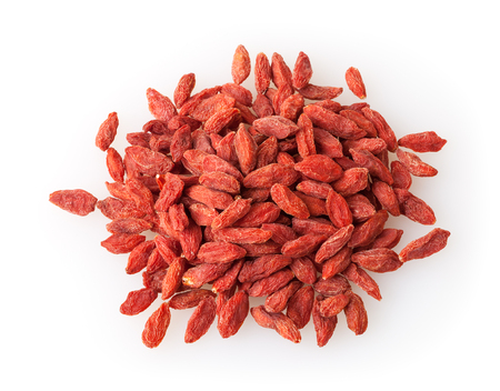 Heap of goji berries isolated on white background