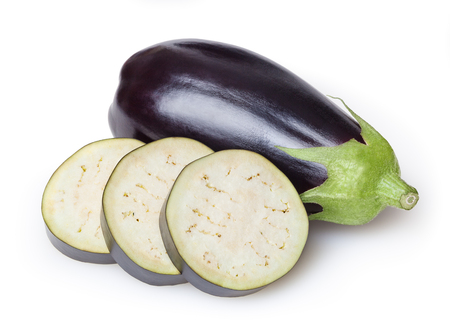 Fresh eggplant isolated on white background