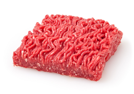 Fresh raw beef minced meat isolated on white background Archivio Fotografico